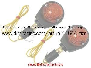 Blinker Ochsenauge Set, Aluminium Mattschwarz   Glas Orange